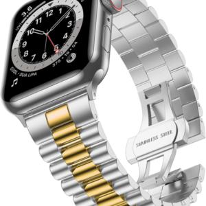 רצועת מתכת לשעון אפל בצבע זהב משולב כסף