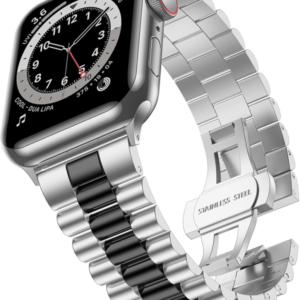 רצועת מתכת לשעון אפל בצבע כסף משולב שחור